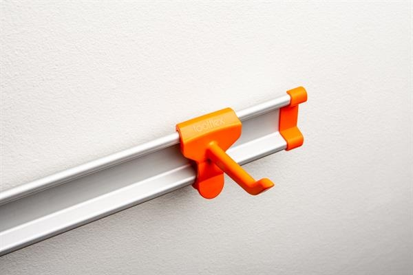 Toolflex One Haken in orange für Aluminiumschiene im 3er-Pack